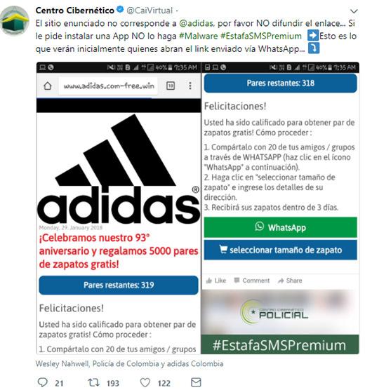 Cuidado! La nueva estafa en WhatsApp te ofrece tenis Adidas