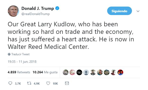 Alto consejero económico de EEUU hospitalizado por ataque cardíaco