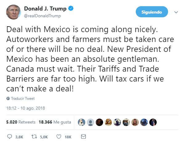 AMLO, un caballero; acuerdo comercial con México progresa: Trump