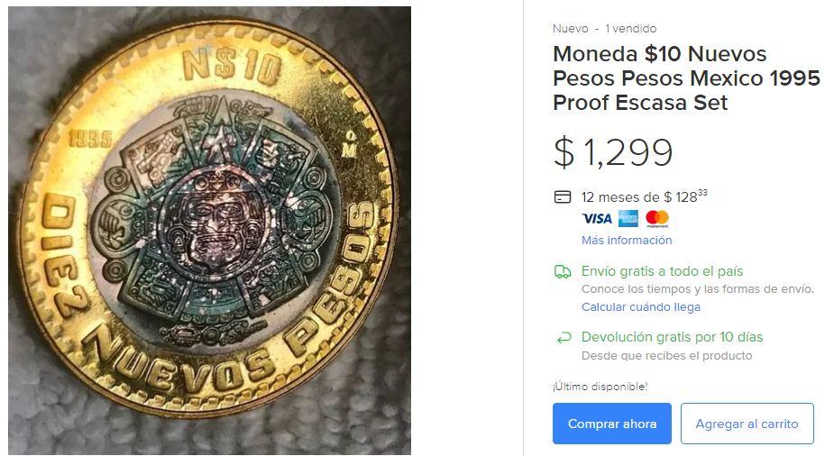 Moneda 10 Nuevos Pesos Escasa