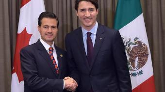Durante la plática el mandatario mexicano y el premier canadiense coincidieron en que existe una oportunidad de lograr una actualización benéfica para los tres países firmantes del Tratado. Foto: Archivo Cuartoscuro