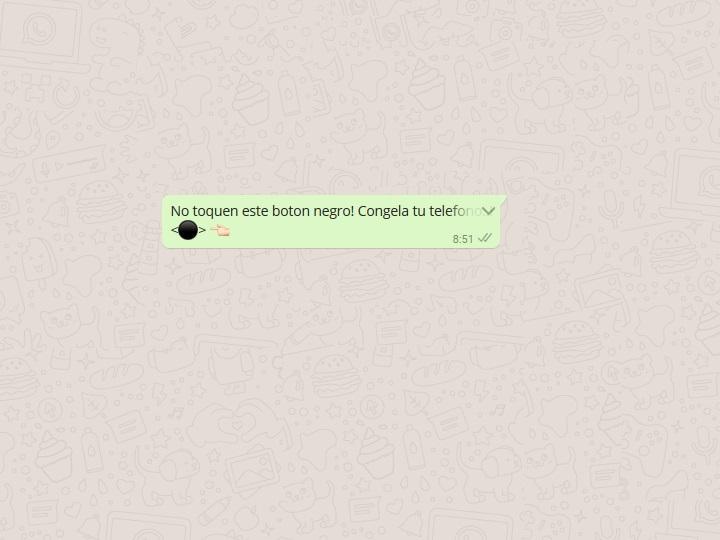 """""""No toques el botón negro"""", así funciona la nueva mala broma de WhatsApp"""