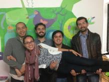 Luis López de Nava, Carlos Zimbrón, Julio Salazar, Pepe Villatoro y Leticia Gasca, los fundadores de las noches para hablar del fracaso. Foto: Darinka Rodríguez.