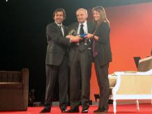 Don Lorenzo Servitje compartió anécdotas empresariales durante el homenaje realizado en su honor en el World Business Forum de WOBI. Foto: Darinka Rodríguez