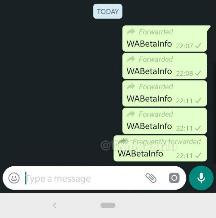 Imagen que muestra la notificación de mensaje reenviado frecuentemente de whatsapp
